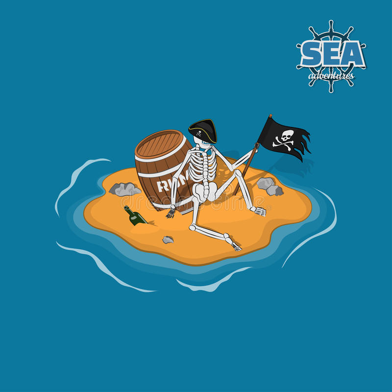 Skelettet av piratkopierar i hatt på en öde ö Död man med en trumma av rom i isometrisk stil Mobillek stock illustrationer