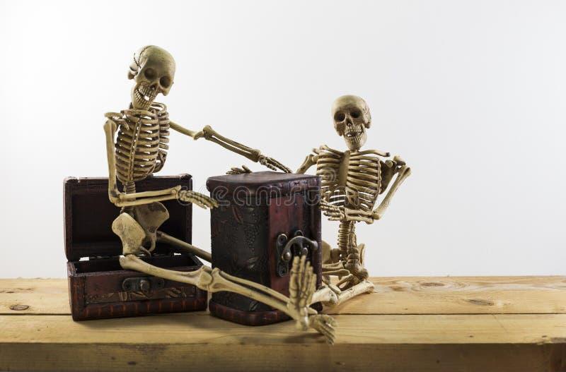 Skelettet piratkopierar sammanträde på en skattbröstkorg och ett gammalt wood golv, w fotografering för bildbyråer
