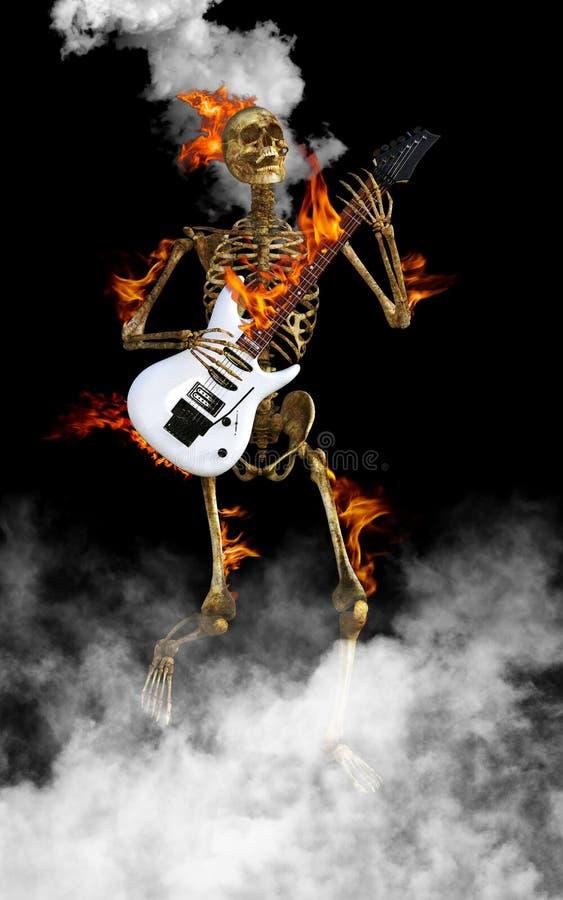 Skelettet som spelar den elektriska gitarren, vaggar - och - rulle royaltyfri fotografi