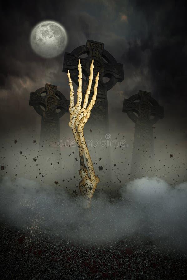 Skeletthand, die vom Grab birst stockfotografie