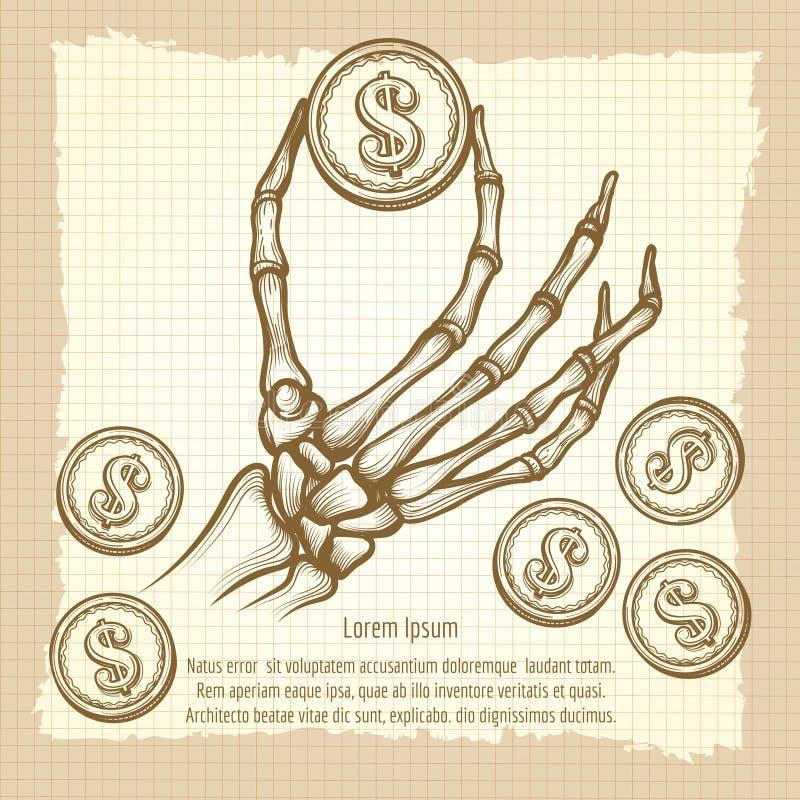 Skeletthand mit Münzenweinleseplakat vektor abbildung
