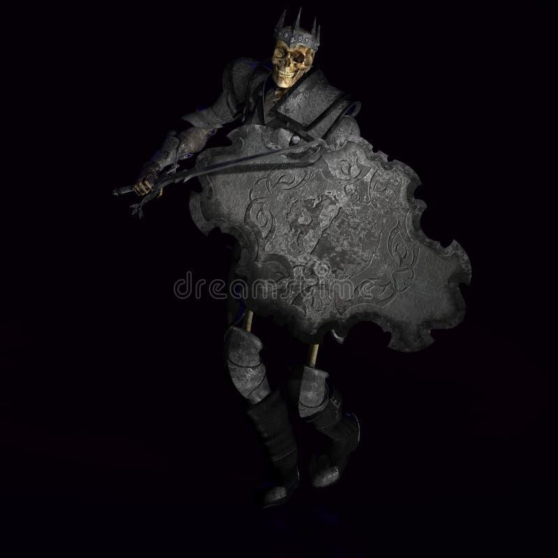 skelettkrigare för 02 konung stock illustrationer