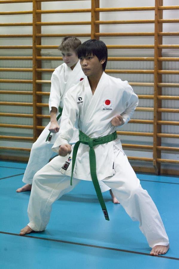 Skelleftea, Suécia - 7 de fevereiro de 2011 Prática do karaté de Shotokan com Sensei, Robin Nyholm e Tero Nyholm Técnicas da auto imagem de stock