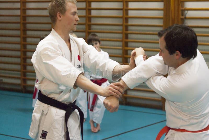 Skelleftea, Suécia - 7 de fevereiro de 2011 Prática do karaté de Shotokan com Sensei, Robin Nyholm e Tero Nyholm Técnicas da auto fotografia de stock