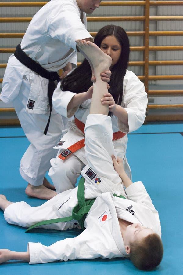 Skelleftea, Suécia - 7 de fevereiro de 2011 Prática do karaté de Shotokan com Sensei, Robin Nyholm e Tero Nyholm Técnicas da auto imagens de stock