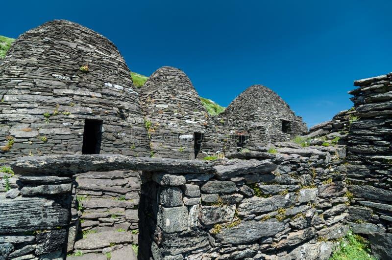 Skellig Michael, περιοχή παγκόσμιων κληρονομιών της ΟΥΝΕΣΚΟ, ιρλανδική αγελάδα, Ιρλανδία Το Star Wars που η δύναμη ξυπνά τη σκηνή στοκ φωτογραφίες με δικαίωμα ελεύθερης χρήσης