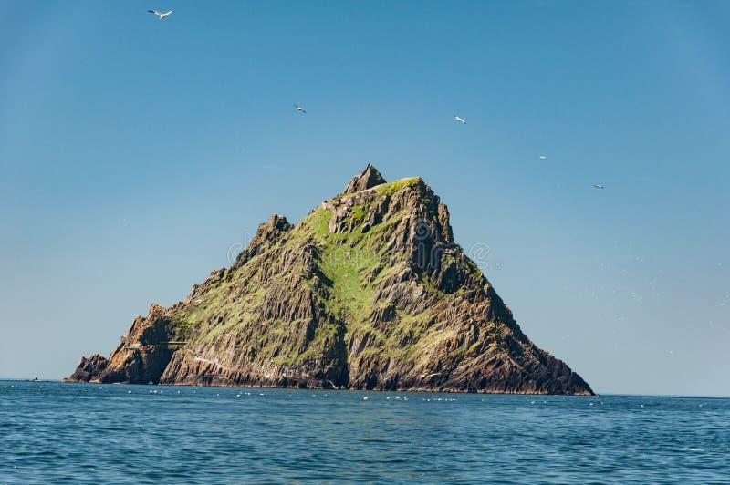 Skellig Michael, site de patrimoine mondial de l'UNESCO, Kerry, Irlande Le Star Wars la force réveille la scène filmée sur cette  photographie stock libre de droits