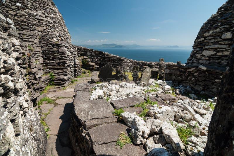 Skellig Michael, Unesco-de Plaats van de Werelderfenis, Kerry, Ierland Star Wars de Kracht wekt Scène op dit Eiland wordt gefilmd royalty-vrije stock fotografie