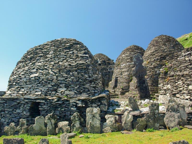 Skellig Michael, Unesco-de Plaats van de Werelderfenis, Kerry, Ierland Whe royalty-vrije stock foto's