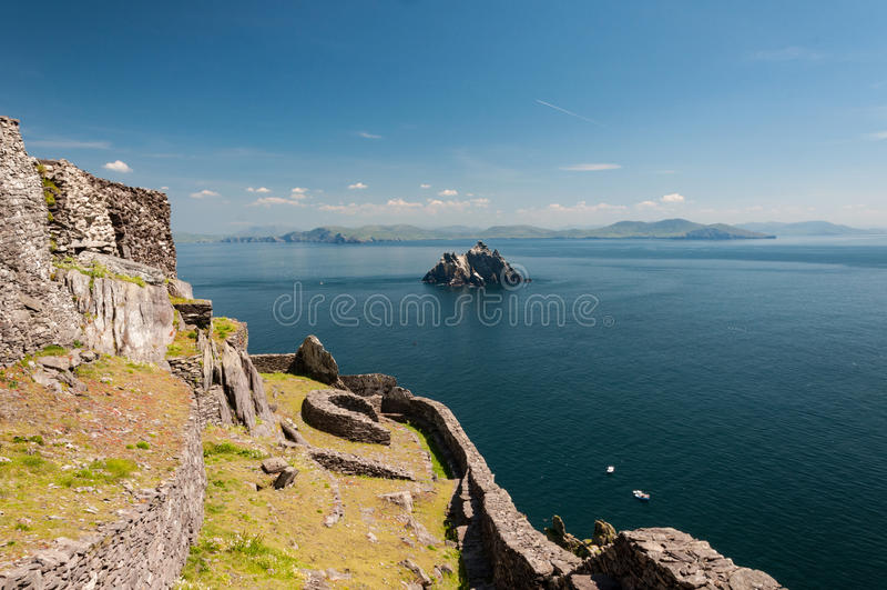 Skellig Michael, UNESCO-Welterbestätte, Kerry, Irland Star Wars die Kraft weckt Szene gefilmt auf dieser Insel lizenzfreie stockfotos