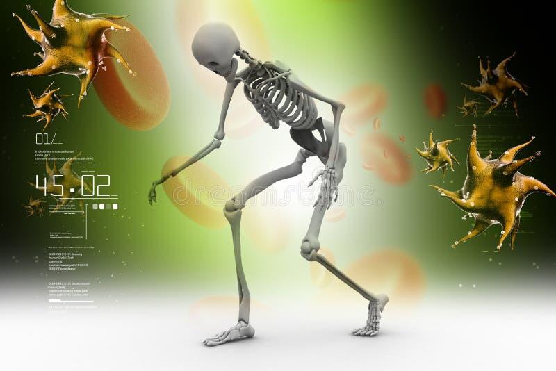 Skelton met bloedcel en virus royalty-vrije illustratie