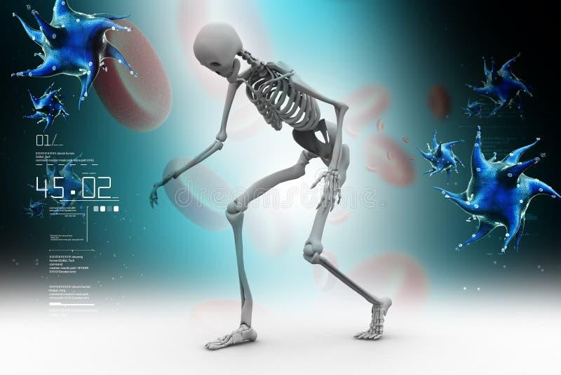 Skelton met bloedcel en virus stock illustratie