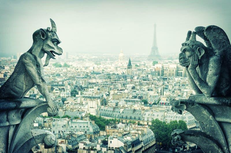 Skenbild för und för stendemonvattenkastare dame de notre paris arkivfoto