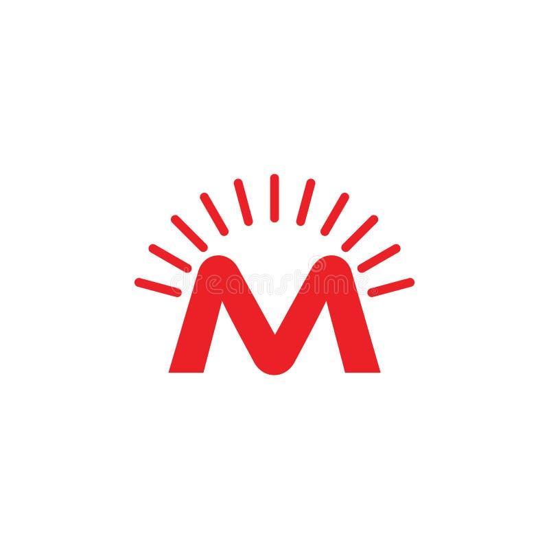 Skenstrålar för bokstav M planlägger logovektorn royaltyfri illustrationer