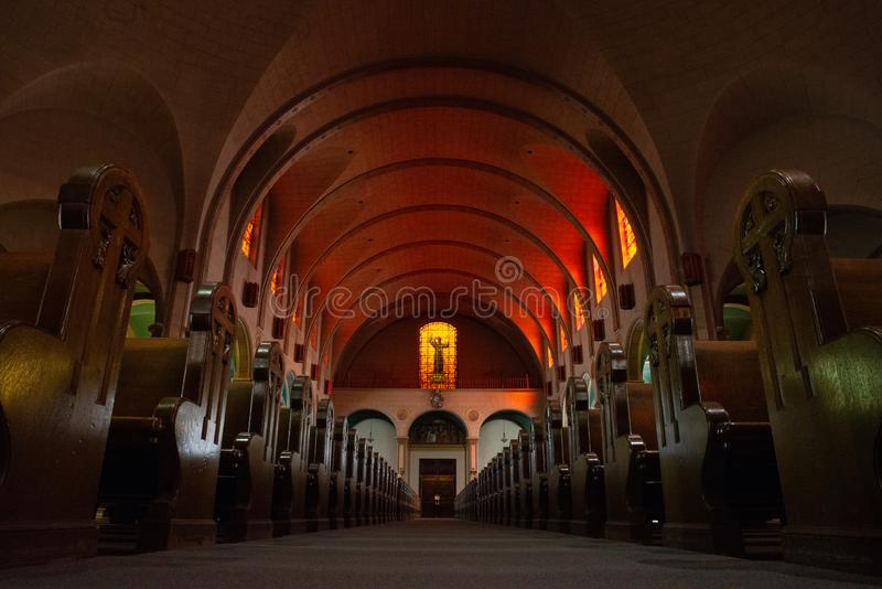 Skepp av beskickningen dolores i orange ljus fotografering för bildbyråer