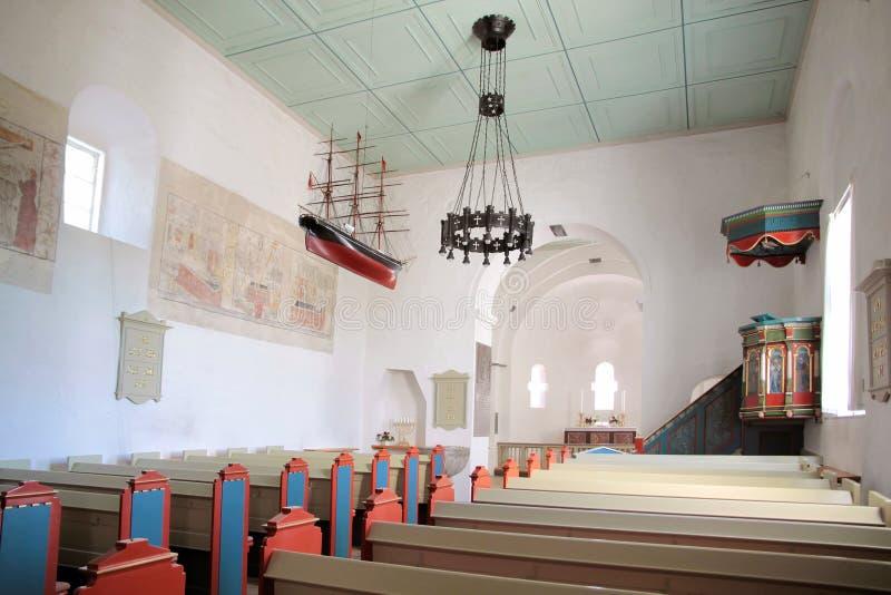 Skepp av St. Povel Kirke på Bornholm fotografering för bildbyråer