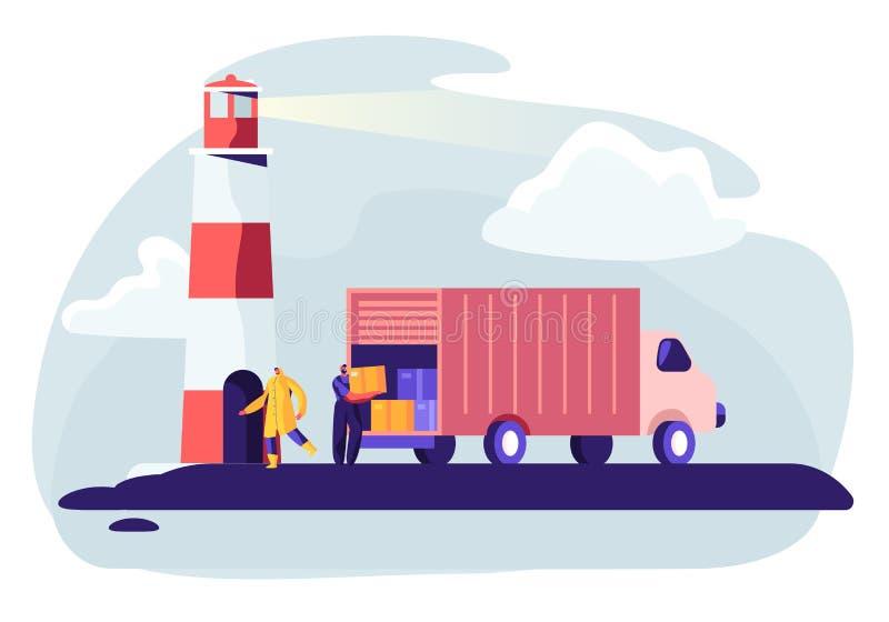 Skepp f?r logistiktrans.beh?llare med den industriella lastbilen Import och export i s?ndningslasthamng?rd trans stock illustrationer