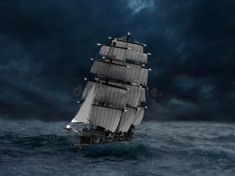 Skepp i en havsstorm royaltyfri illustrationer