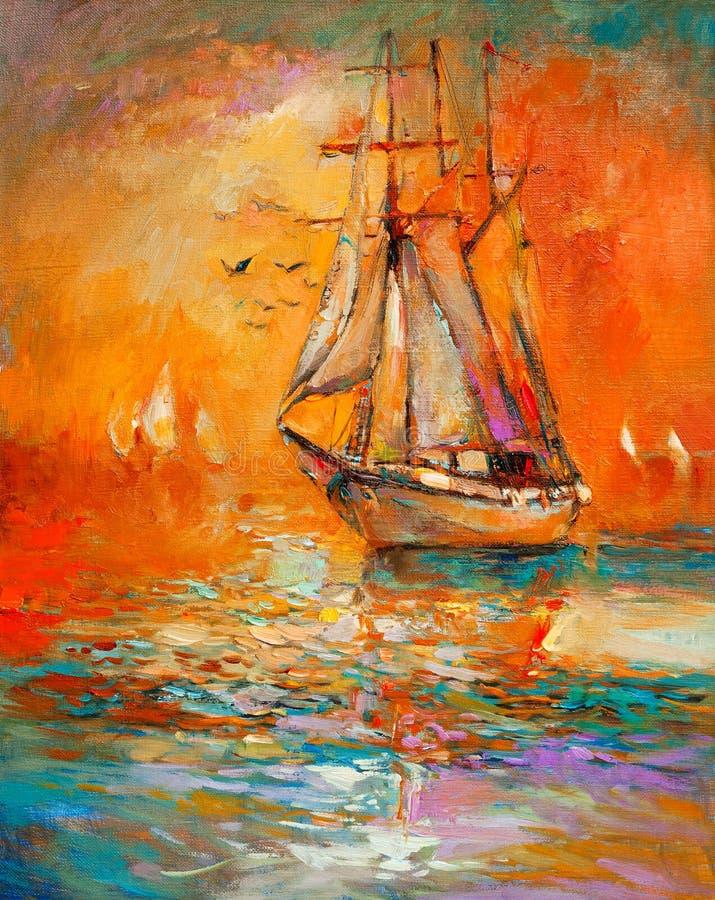 Skepp i havet royaltyfri illustrationer