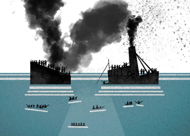Skepp med flyktingar ombord som kräver hjälp Hav med folk i vattnet som frågar för hjälp stock illustrationer