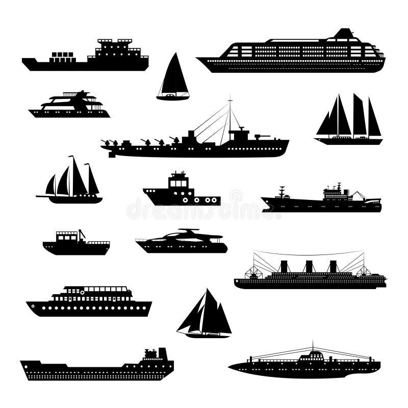 Skepp och fartyg ställde in svartvitt royaltyfri illustrationer
