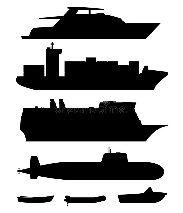 Skepp och fartyg svärtar konturer vektor illustrationer