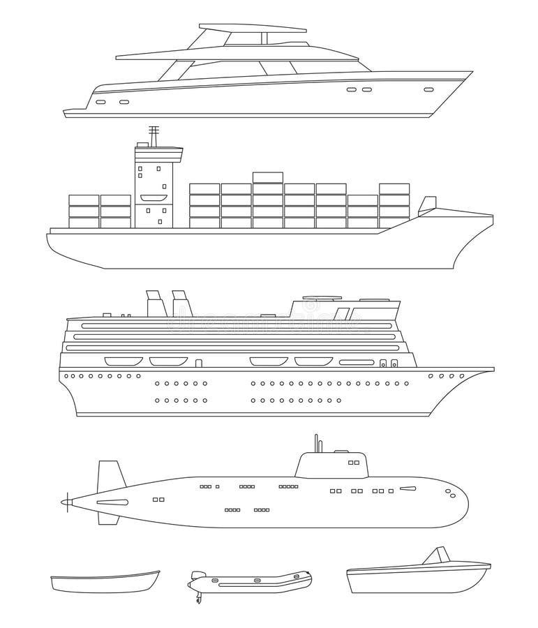 Skepp- och fartyglinje teckningar stock illustrationer