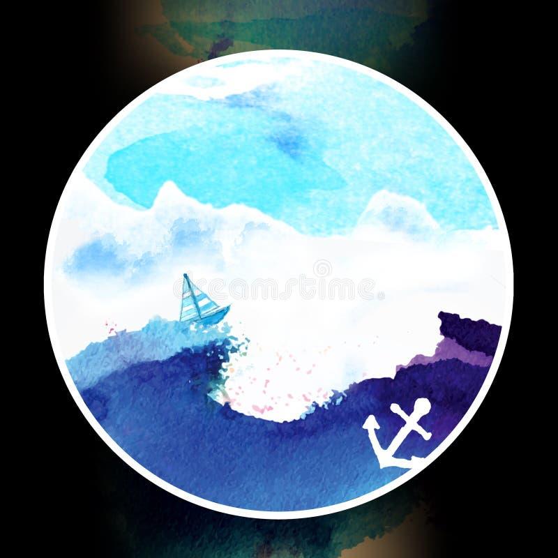 Skepp på havsvattenfärgillustrationen royaltyfri illustrationer