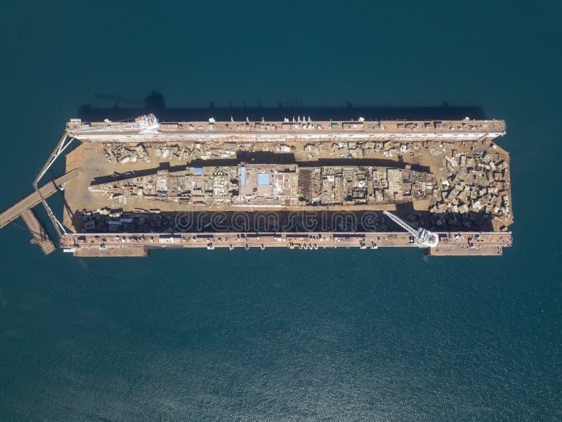 Skepp som demonterar i skeppsdocka arkivfoton