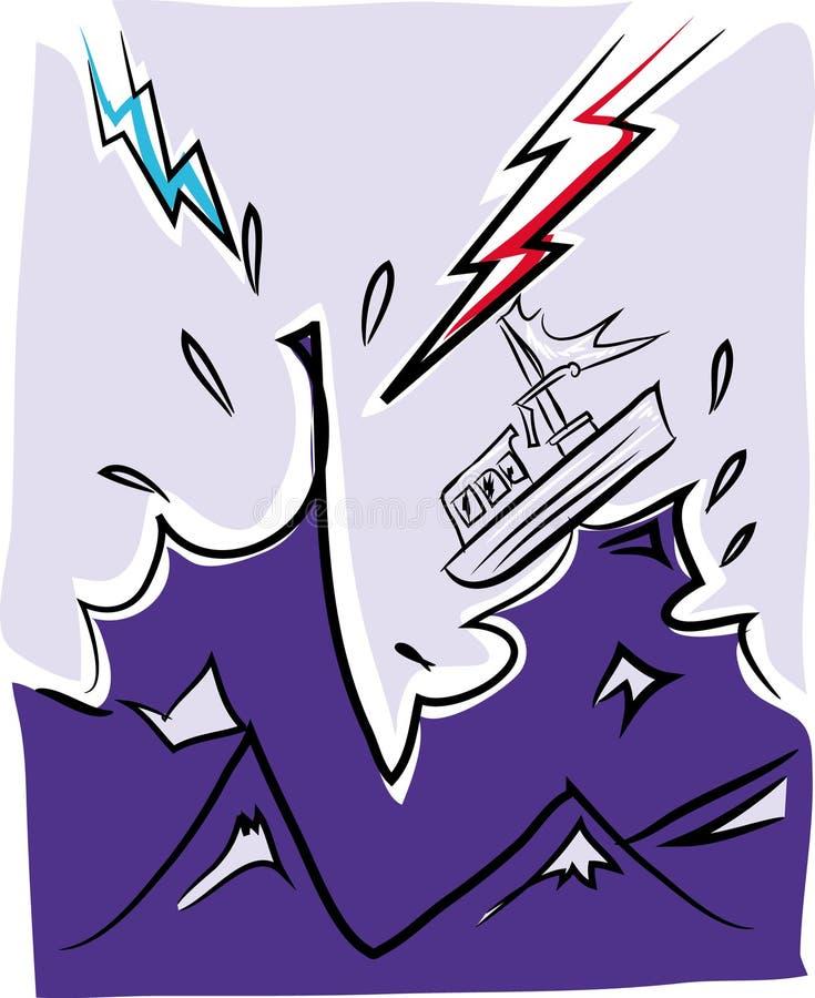 Skepp som sjunker i stormen med blixt royaltyfri illustrationer