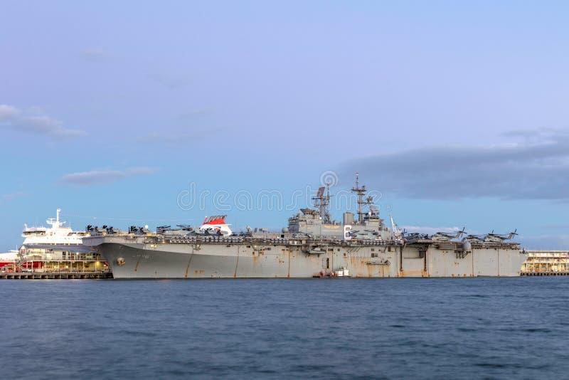 Skepp USS Bonhomme Richard LHD-6 Wasp-grupp för amfibisk anfall av Förenta staternamarinen royaltyfria foton