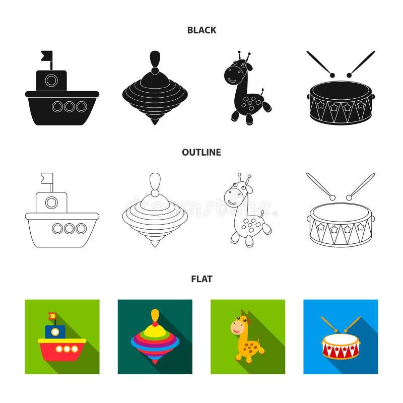 Skepp yule, giraff, vals Leksaker ställde in samlingssymboler i svart, lägenheten, rengöringsduk för illustration för materiel fö stock illustrationer