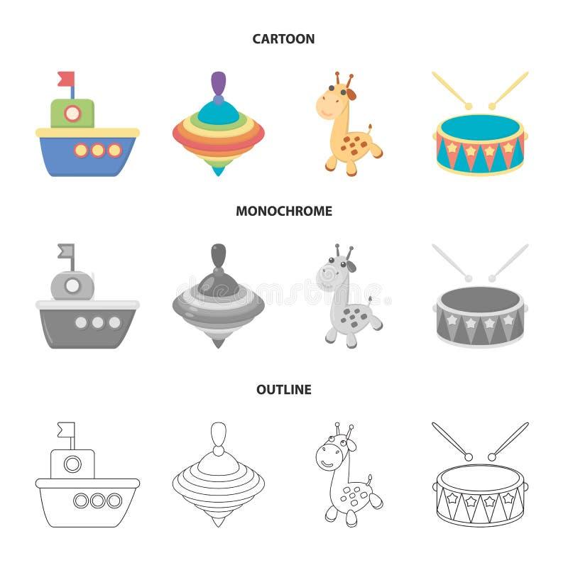 Skepp yule, giraff, vals Leksaker ställde in samlingssymboler i tecknade filmen, översikten, monokrom illustration för materiel f stock illustrationer