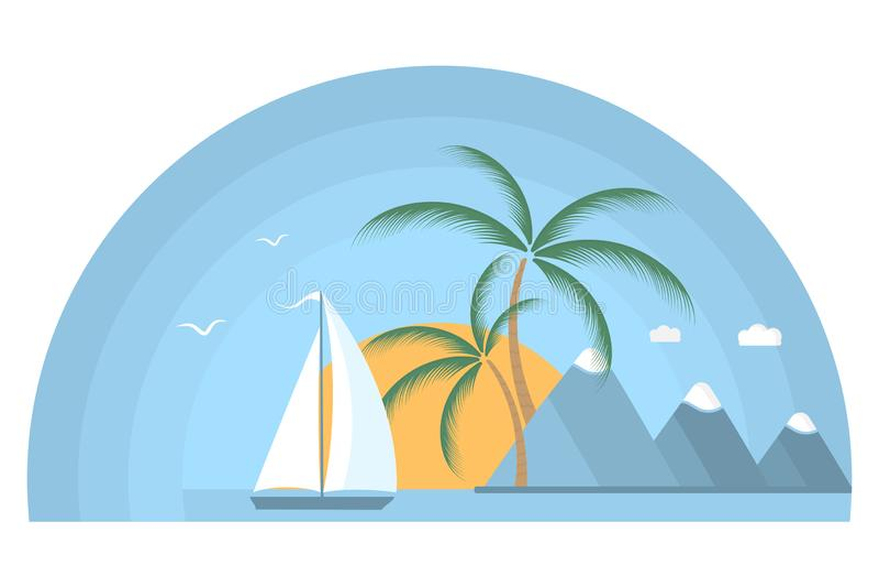 Skeppet med seglar i havet på soluppgång Tropisk ö med palmträd och berg royaltyfri illustrationer