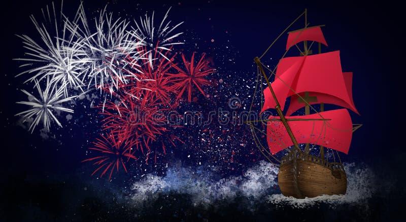 Skeppet med seglar mot bakgrunden av natthimlen, mörker - det blåa backgroundAskeppet med scharlakansrött seglar mot bakgrunden a royaltyfri illustrationer