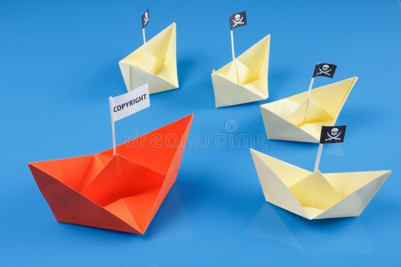 Skeppet och flera piratkopierar fartyg fotografering för bildbyråer