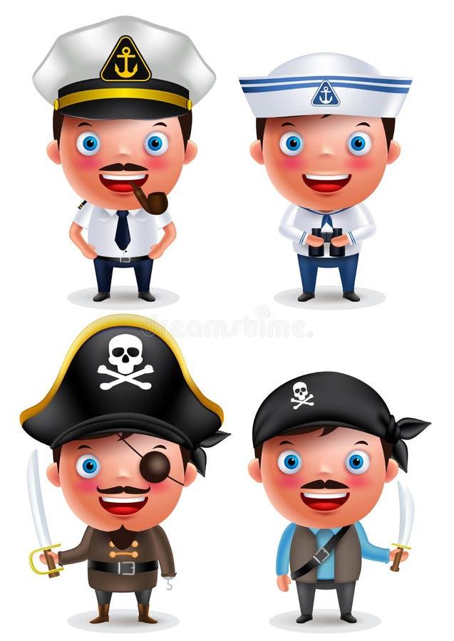 Skeppkaptenen, sjöman och piratkopierar vektorteckenet - ställ in med likformign vektor illustrationer