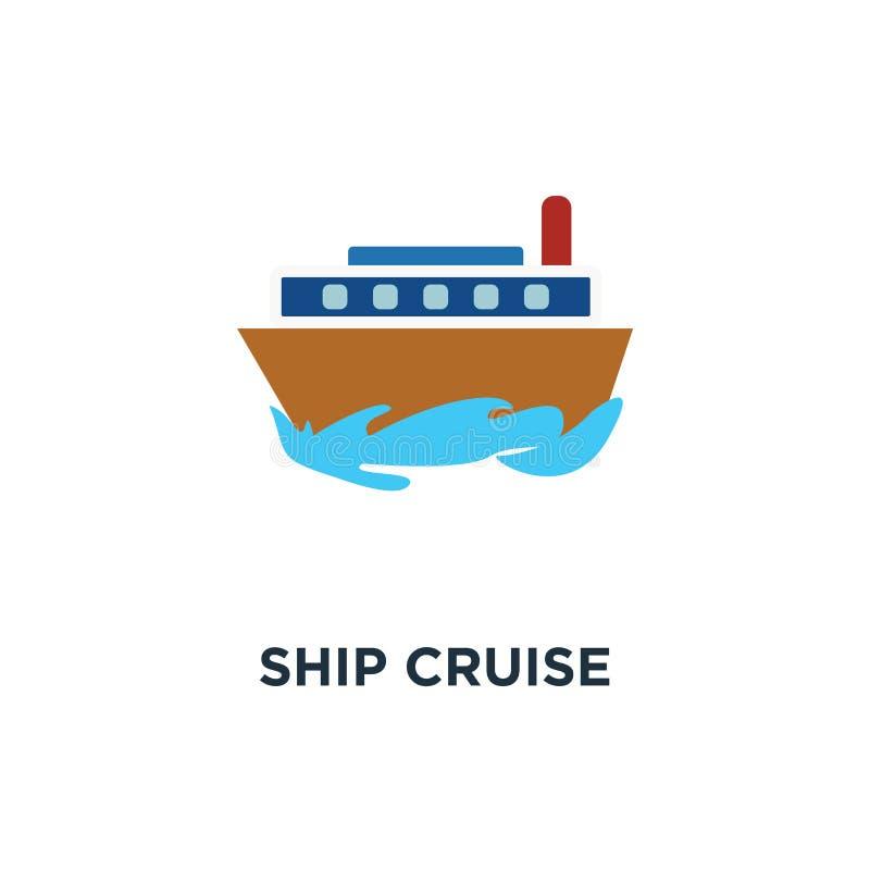 Skeppkryssningsymbol turnera begreppssymboldesignen, leveransbegrepp royaltyfri illustrationer