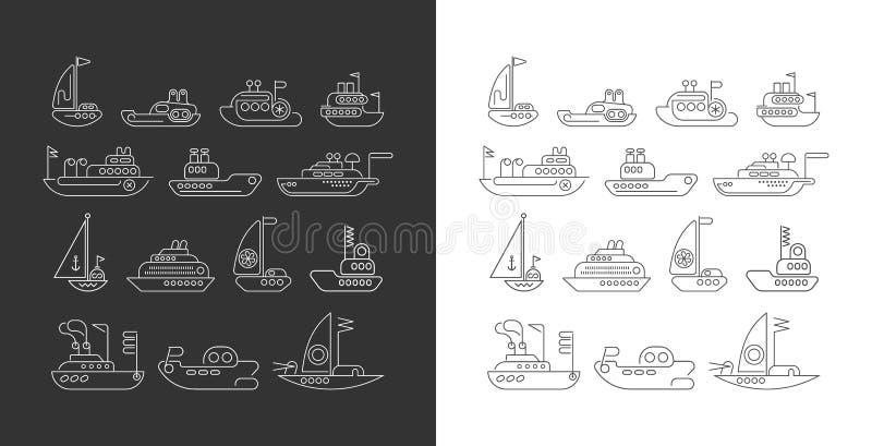 Skepplinje uppsättning för konstvektorsymbol royaltyfri illustrationer