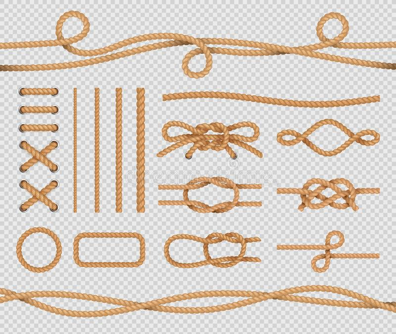 Skepprepbeståndsdelar Realistiska marin- öglor och fnuren Nautiska rep Vektor isolerad upps?ttning p? genomskinlig bakgrund royaltyfri illustrationer