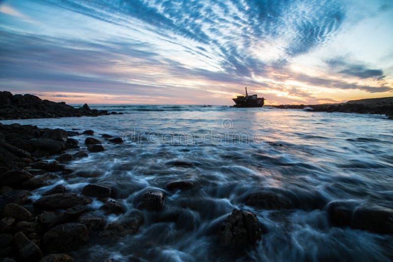 Skeppsbrott på udde Agulhas, Sydafrika royaltyfria foton