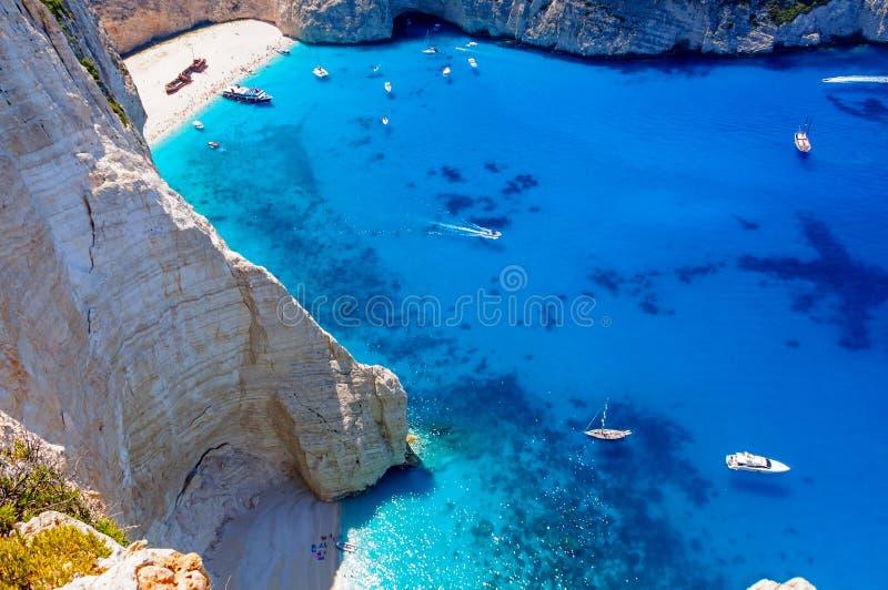 SkeppsbrottNavagio strand på den Zakynthos ön i Grekland fotografering för bildbyråer
