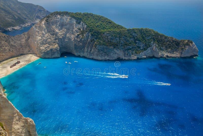 Skeppsbrottstrand, Navagio i Zakynthos, Grekland fotografering för bildbyråer