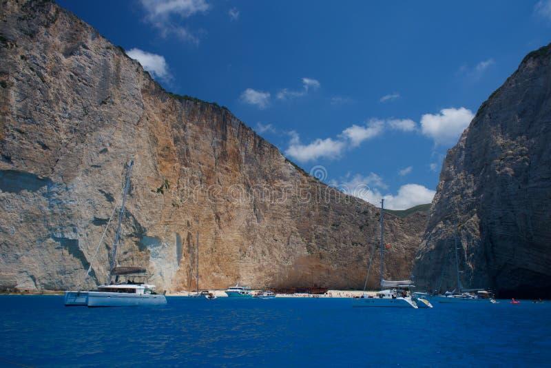 Skeppsbrottstrand Navagio på den Zakynthos ön i Grekland Europa fotografering för bildbyråer