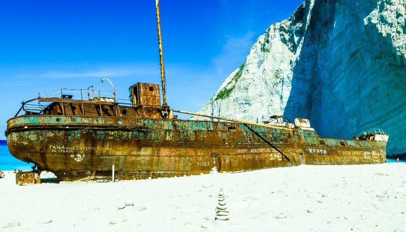Skeppsbrottstrand Zante arkivbilder