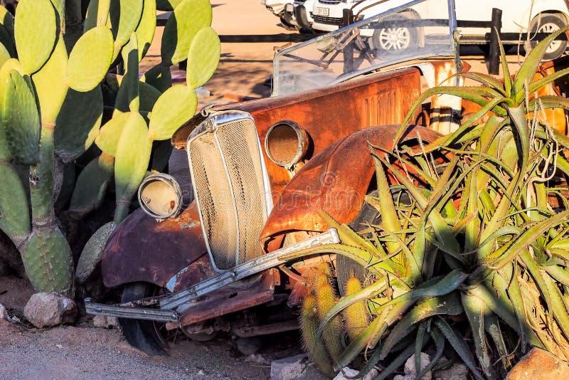 Skeppsbrutna bilar i den omgeende patiensen f?r ?ken i Namibia arkivfoto