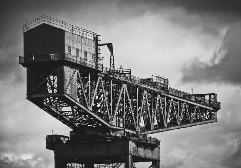 Skeppsbyggeri Crane In Glasgow arkivfoto