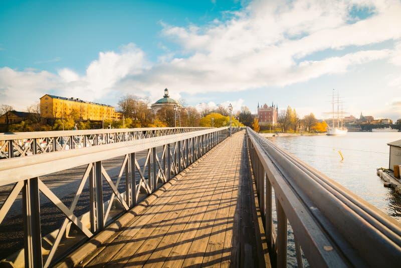 Skeppsholmen bridge in Stockholm at sunset, Sweden stock photography