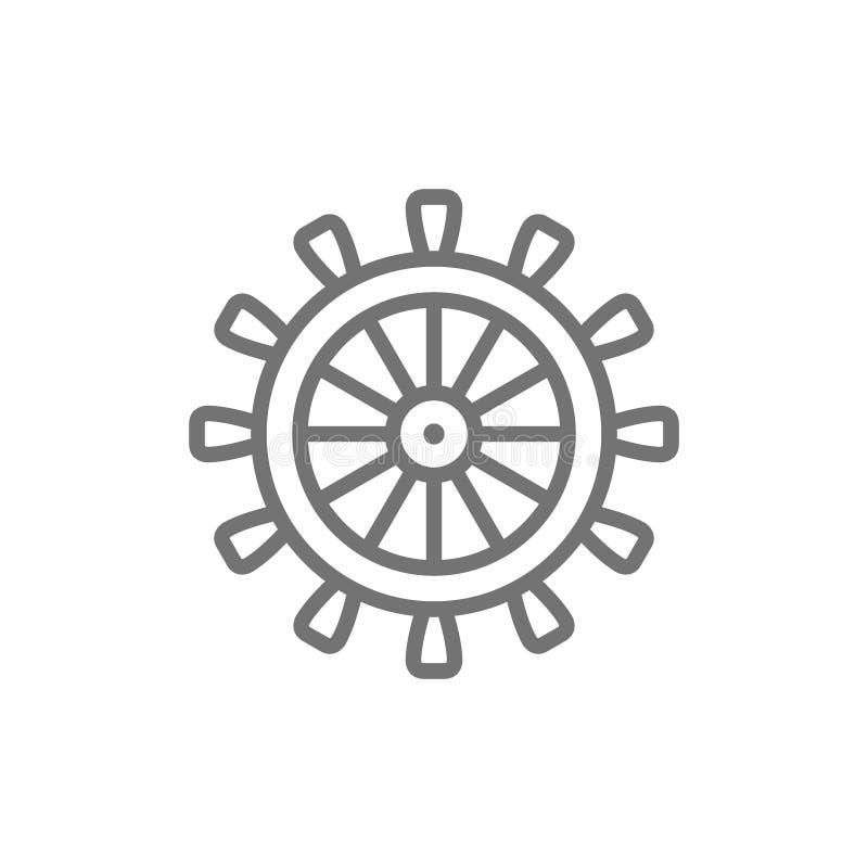 Skeppstyrninghjul, roder, roderlinje symbol vektor illustrationer