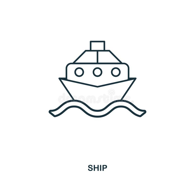 Skeppsymbol Design för översiktsstilsymbol Ui Illustration av skeppsymbolen pictogram som isoleras på vit Ordna till för att anvä stock illustrationer